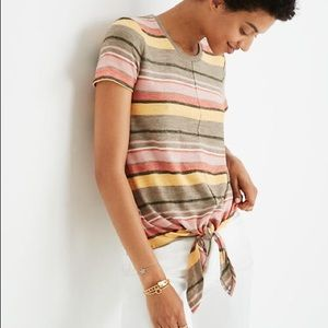 Madewell | Texture & Thread  Striped Front Tie Top